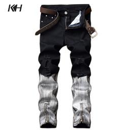 white punk pants 2019 - KH Punk Style Black White Straight Jeans Men's Fashion Night Club Slim Fit Pants Zipper Decoration Hip Hop Biker De