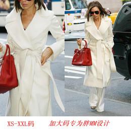 Wholesale white belted cashmere coat resale online - Autumn Winter White Cashmere Coat Women European Style Fashion Lapel Long Belt Waist Woolen Blend Coats Fit XS XXL Long Jacket