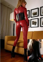 snake woman costume 2019 - Hot Women Faux Leather Jumpsuit Snake Skin Jumpsuit Front Zip Long SLeeve Bodysuit Spandex Catsuit Women size s-2xl chea