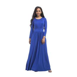 1fbcb3cd257 Women Long Dresses Loose Long Sleeve Autumn O Neck Casual Solid White Black  Blue Party Beach Plus Size Maxi Dress
