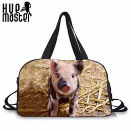 $enCountryForm.capitalKeyWord Australia - Canvas Duffle Bag Cute Piggy Print Travel Messenger Shoulder Bags High Capacity Shoes Pocket Design Handbags Casual Tote Bag