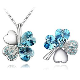 $enCountryForm.capitalKeyWord Australia - free shipping promotion GP austrian Crystal Clover 4 leaves leaf charm Pendant fashion Necklace Brooch fashion jewelry Sets