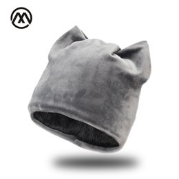 purple cat hat NZ - Woman winter flannel Skullies cat ear hat Plus velvet Thick double layer Warm beanie hat Ear Flaps Girls Cute Fluff knit cap Y18110503
