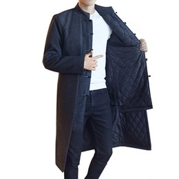 c290a31f6 Chinese blaCk men long Coat online shopping - Chinese Style Trench Men s  Retro Jacket Long