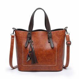 $enCountryForm.capitalKeyWord Canada - Women Handbag Charms Shoulder Bag Female Casual Tote Bag PU Leather Vintage Crossbody Bags Tassel Metal Cat Large Capacity