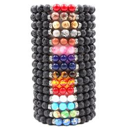 Colorful stone braCelets online shopping - Hot MM Natural Lava Rock Stone Bracelet Colorful Chakra Beads Bracelets For women men Volcanic Yoga Elastic Energy Jewelry