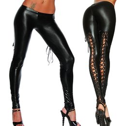 2ed282cf95cb4a Valink 2017 Punk Leggings Women Sexy Like Lace Black Faux Leather Gothic  Wet Look Clubwear Latex Legging Pants Pantalones Mujer