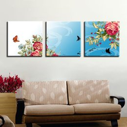 art canvas prints Australia - Canvas Paintings Living Room Wall Art Framework 3 Pieces Butterflies Rose Peonies Pictures HD Prints Flowers Posters Home Decor