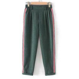 Korean fashion ladies pants online shopping - women elegant side stripe black pants elastic waist ladies autumn casual green gray korean fashion trousers mujer