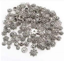 $enCountryForm.capitalKeyWord NZ - 150pcs Tibetan Antique Silver Color Beads End Caps Flower Bead Caps For Jewelry Making Findings Diy Accessories Wholesale Supply
