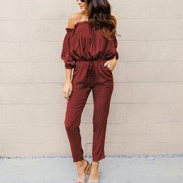 $enCountryForm.capitalKeyWord NZ - Polka Dot Long Jumpsuit Romper Women High Waist Loose Casual Off Shoulder Overalls 2018 Spring Streetwear Playsuit Female