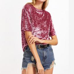 Women Velvet Clothes Australia - BONJEAN Casual Velvet T Shirt Women Short Sleeve T-shirt Loose Pullovers Tops Loose Brand Female Velvet T-shirt Clothes