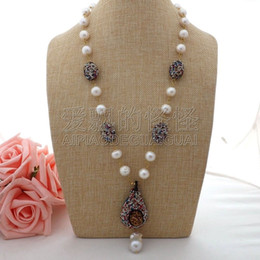 "necklaces pendants Australia - N062903 24"" White Keshi Pearl Necklace Druzy Pendant"