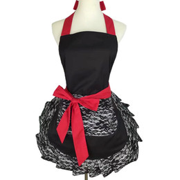 Discount lace aprons - 2017 New Hot Black Lace Cotton Bowknot Beauty Shop Nail Salons Apron Organizer Tablier Pinafore Cosplay Restaurant Weddi