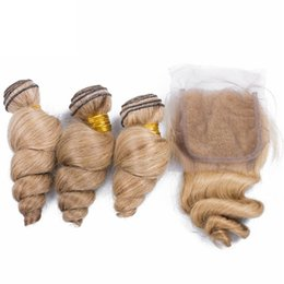 brazilian virgin hair bleached UK - Loose Wave #613 Bleached Blonde 4x4 Lace Closure With Bundles Blonde Loose Wavy Peruvian Virgin Hair With Lace Closure