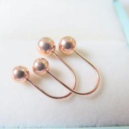 d46850567 Solid 18K Rose Gold Stud Earrings Lovely 5mm Ball U Shape Stud Earrings