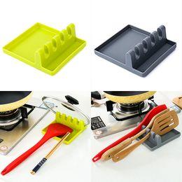 Pot lids holder online shopping - New Kitchen Utensil Rest Spoon Pot Pan Lid Pot Shovel Holder Food Grade Hard Silicone Tools Shelf Gray and Green WX9