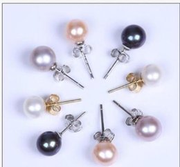 1f85fa050b64 holesale AAA + 1 par de aretes de perlas naturales de 9-10 MM con perlas de  oro blanco de 14K