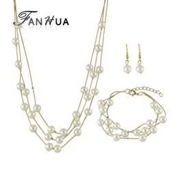fanhua jewelry UK - FANHUA Jewelry Sets Silver Gold-Color Multi Layers With Simulated Pearl Chain Necklace and Dangle Earring and Chain Bracelet