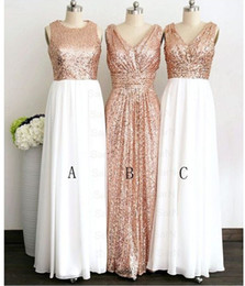 $enCountryForm.capitalKeyWord Canada - 2018 Rose Gold Sequin Top White Chiffon Skirt Long Cheap Bridesmaids Dresses V neck Jewel Style Ruched For Wedding Country Prom Formal Dress