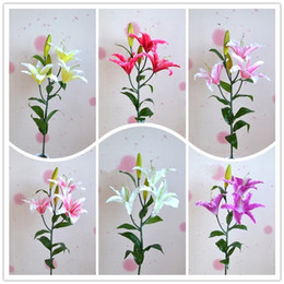 Fake lilies Flowers online shopping - Simulation Lily Living Room Bedroom Prop Table Pendulum Wedding Decoration Home Party Supplies Fake Artificial Flower hz bb