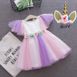 Kids Cross Bows NZ - flower girl dress toddler girls Unicorn dress baby wedding rainbow colors tulle dress with unicorn headband lovely kids for unicorn party
