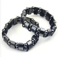 Bezel Quartz Black Canada - Black Magnetic Hematite Beads Bracelets Fashion Black Magnetic Hematite Beads Bracelet for men women Beads Bracelets