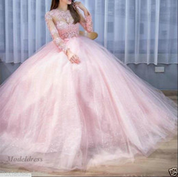 Sexy Sparkle princeSS wedding dreSS online shopping - Pink Princess Wedding Dresses Illusion Long Sleeves Sheer Neck Lace Appliques Hollow Lace up Back Court Train Sparkle Luxury Wedding Gowns