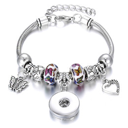 $enCountryForm.capitalKeyWord NZ - Christmas Snap Jewelry Bracelet Silver Lobster Buckle Snake Chain Bangle Butterfly Beaded Bracelet Fit 18MM Snap Buttons Noosa Bracelet