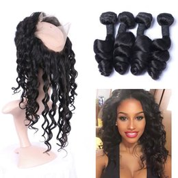Discount lace frontal closure brown - Brazilian Human Hair 4 Bundles with 360 Lace Frontal Closure Free Middle Three Part Virgin Loose Wave Hair Extensions
