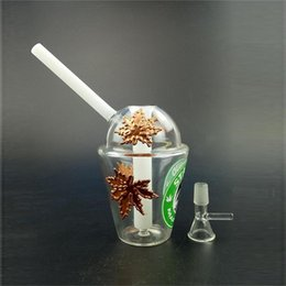 Starbucks Dab Bongs Australia - 20cm high Cup Bongs with Inline Perc and 14.4 Female Joint Glass Water Pipe Two Fuction Dab Rigs Real Image Starbucks Cups Bubbler