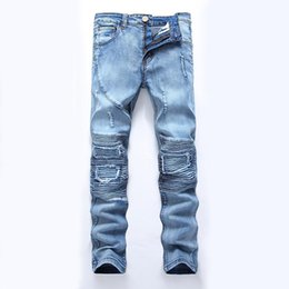 $enCountryForm.capitalKeyWord Canada - Mens jeans Distressed Robin Motorcycle biker jeans Rock Skinny Slim Ripped hole Mens Famous Brand Denim pants Men Designer jeans