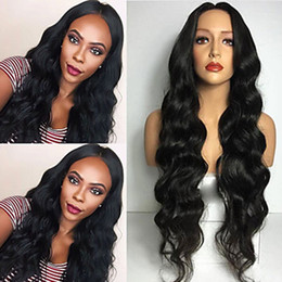 Discount high quality body wave hair - Cheap Middle Parting Black Long Body Wave Wigs with Baby Hair High Quality Heat Resistant Glueless Synthetic Lace Front