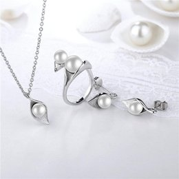 ring shaped earrings Australia - ROXI Simulated Pearl Jewelry Set For Women Silver Color Flower Shape Pendant Necklace Earrings Ring Wedding Bridal Jewelry Sets1