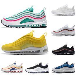 8d9c32612 South Beach 97 running shoes Triple white black yellow Runnershoe Og  Metallic Gold Silver Bullet Men trainer 97s Women sports sneakers 36-45
