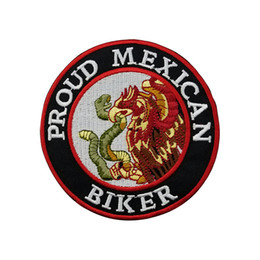 $enCountryForm.capitalKeyWord NZ - PROUD MEXICAN Embroidery Patch Motorcycle Parch Biker Chopper Iron Sew on Applique Patch for Jacket