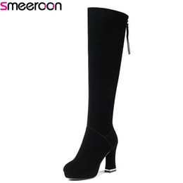 $enCountryForm.capitalKeyWord NZ - Smeeroon 2018 new platform shoes round toe super high heels women boots zip over the knee boots for women autumn winter