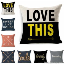 Green Office Chairs Australia - Pillow Covers Cushions Cover Printed Alphabet Letter Linen Fashion Office Sofa Chair Home Textiles Cushions Pillowcase Without Pillow Core