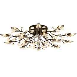 Modern Crystal Chandeliers Australia - Chandelier Lighting Modern Rustic Chandelier Black Wrought Iron Chandeliers K9 Crystal Led Lamp G9 Led Light