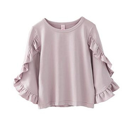 Spring p online shopping - Girls Tops Kids Clothing Autumn sSpring Cotton Stringy Selvedge T Shirt Fashion Flare Sleeve Clothing p