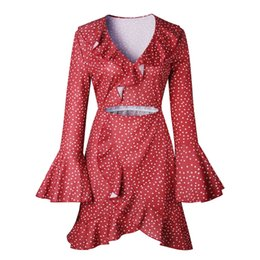 $enCountryForm.capitalKeyWord NZ - good quality Dress Women's Summer Dress 2018 Casual Sexy V-neck Dot Lotus Leaf Irregular Speaker Sleeve Summer Women Mini Black Dress