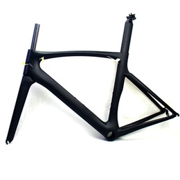 49cm carbon bicycle UK - Carbon road bike frames Black matt racing bicycle frame cycling frameset NO decals clear coat