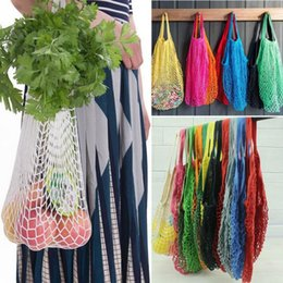 fruit bags wholesale 2019 - Mesh Net Shopping Bags Fruits Vegetable Portable Foldable Cotton String Reusable Turtle Bags Tote for Kitchen Sundries C