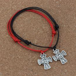 Black crucifix pendant online shopping - MIC Jesus Christ Crucifix Cross Pendant Adjustable kabbalah Korea Waxed Cotton Cord Bracelets red black B