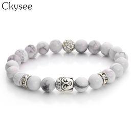 $enCountryForm.capitalKeyWord Australia - Antique Silver Color Buddha Mens Fashion Beaded Bracelets Black Lava Stone & White Bead Stone Bracelets for Women Pulseras