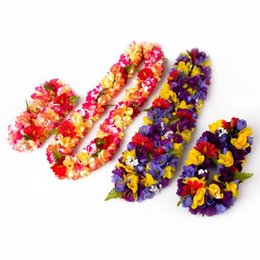 Party Supply Leis UK - 2017 Hawaii Flower Party Beach Tropical Flower Necklace Hawaiian Luau Petal Leis Festival Party Decorations Wedding Supplies