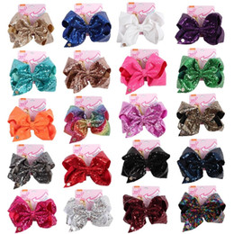 sequin bows wholesale NZ - 8 Inch Jojo Sequin Hair Bow With Clip With Papercard Baby Girl Large Hair Clip Sparkly Hair Accessories