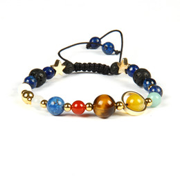 natural solar UK - Universe Galaxy The Eight Planets In The Solar System Guardian Star Macrame Bracelet With All Natural Stone Beads Wholesale 10pcs lot
