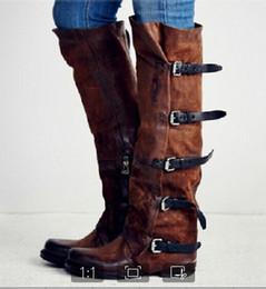 281b66d1c58ab5 Xingdeng Automne Hiver Haute Boucle Cowboy Western Moto Bottes Chaussures  Dames Plat Long Punk Nubuck Bottes D'équitation