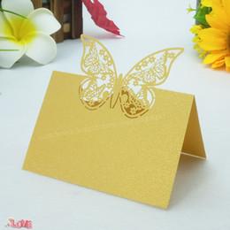 $enCountryForm.capitalKeyWord Australia - 100Pcs Butterfly Pattern Laser Cut Decor Table Cards Place Setting Name Card Wedding Birthday Party Decoration 5ZZ36